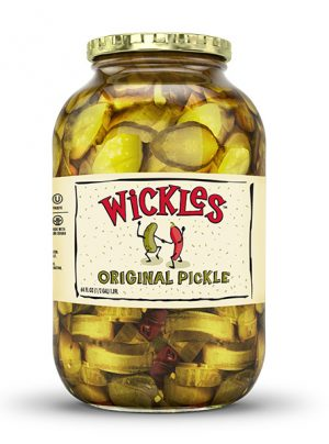 Front product photo of the Wickles Original Pickles 64oz jar
