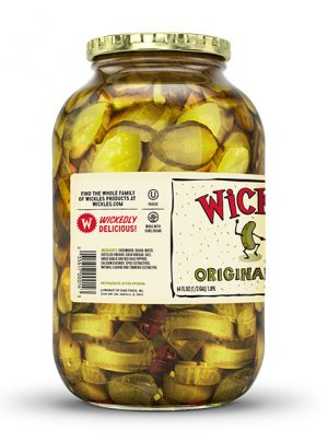 Side product photo of the Wickles Original Pickles 64oz jar